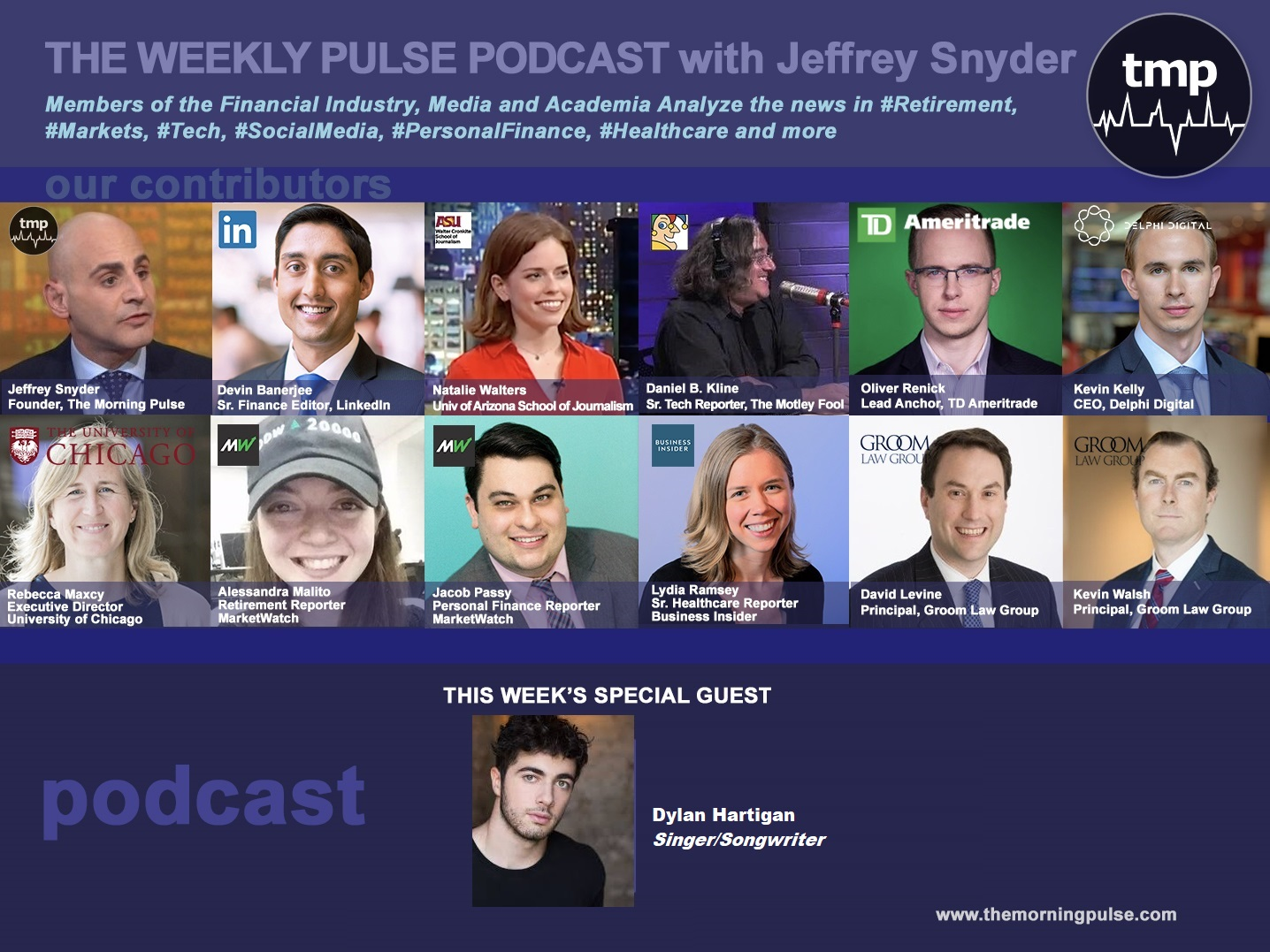 (Podcast) 9/8/2019 In this episode: (1) Singer/Songwriter and NBC The Voice finalist Dylan Hartigan, (2) FinCon2019, (3) home health workers: the hardest and most demanding job, & more.